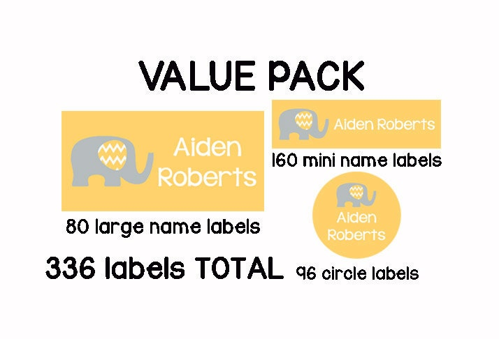 Back to school 336 personalized waterproof dishwasher safe daycare pack of labels custom name stickers girl gray elephants