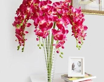 Orchid Centerpieces Flower Fuschia Artificial Silk Orchid Flowers For Wedding Decoration Bridal Bouquet Ceremony Arrangement Flowers 5 Stems