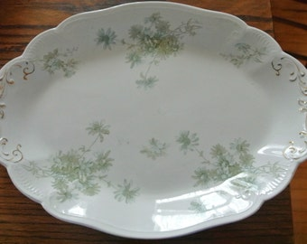 Green Transferware Platter Daisy Daisies Made in England
