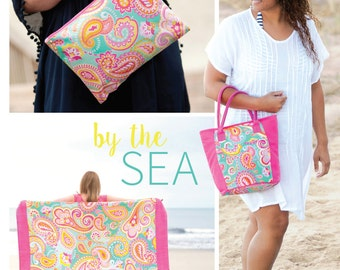 Beach Items in Summer Paisley Collection...personalized with name or monogram in a choice of fonts. Great as a gift.