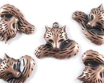 Copper Fox Charm, Red Fox Charm - 4 pieces (186C)