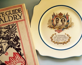 Vintage English Royalty Plate, Queen Elizabeth, King George VI, Union Jack, Canadian American Flag, Perfect for The Crown Tea Party, Display