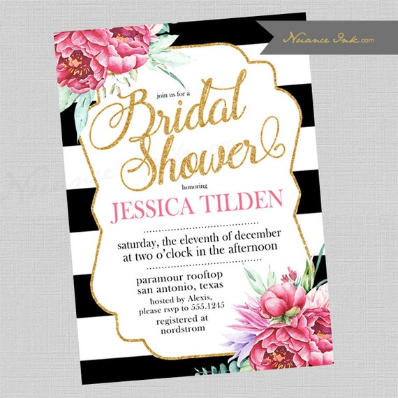 Black and White and Pink Bridal Shower Invitations, kate spade inspired, tea party shower, baby shower, floral, gold glitter, birthday