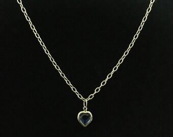Vintage Gold Tone Blue Cut Glass Heart Pendant Necklace  (RGB-Bx)