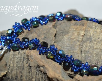 Extra long electric blue wave bracelet