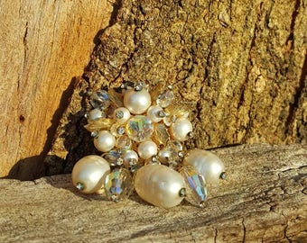 Vendome 1950s Baroque Pearl Brooch Haskell style