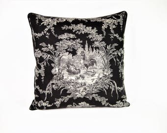 Black and Ivory Toile Pillow Cover 18 x 18