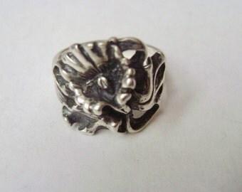 vintage sterling art nouveau flower ring, size 5.5