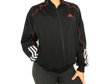 Vintage Adidas Sport Jacket Black Hipster jacket Vintage Adidas Women Men JUNIOR Jacket Activewear Vintage sportswear