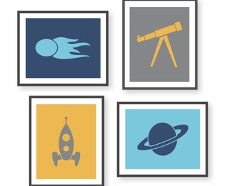 Outer Space Decor, Boys Room Decor, Space Nursery, Rocket Art, Astronomy Art, Childrens Art, Kids Wall Decor, Science Art, Playroom Art