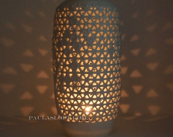Vintage Asian Lamp BODY ONLY Porcelain Reticulated Pierced Candle Hurricane