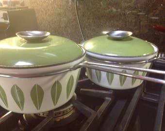 Two Catherineholm Enamel  White And Green Sauce Pan Retro Kitchen Scandinavian Norway Mid-Century