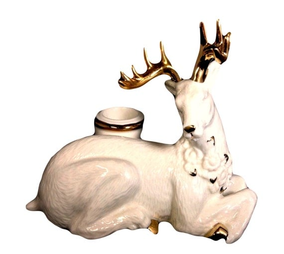 Christmas Candle Holder by Mikasa, Holiday Elegance Fine China Reindeer Home Decor, Christmas Decoration, Holiday Gift