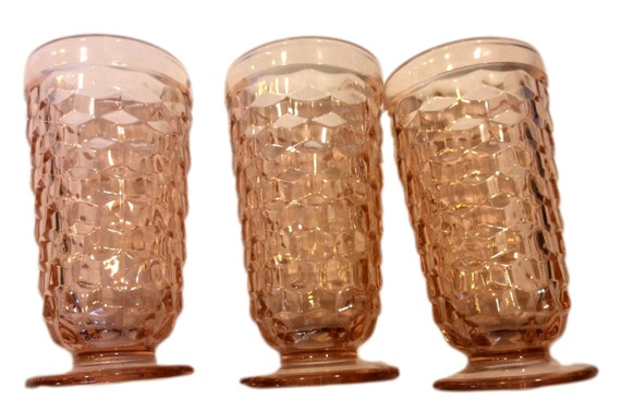 Peach Iced Tea Glass Tumblers, Set of 3 Collectible Colony Glass, Whitehall Footed Tumbler, Gift For Her