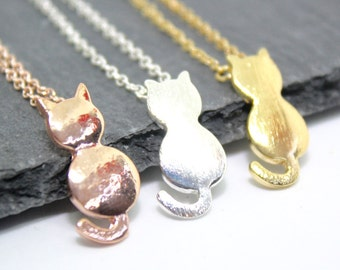 Cat Necklace, Kitty Necklace. Cat Lover Gift, Cat Jewellery, Silver Cat Necklace, Gold Cat Necklace, Mad Cat Lady Gift, Kitty Jewellery