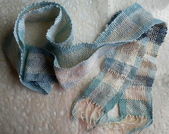 Blue Colorado Columbine handwoven scarf by Colorado HeartWoven artist Mary Pat Ettinger using Colorado wool, flax, rayons, cottons and silk.