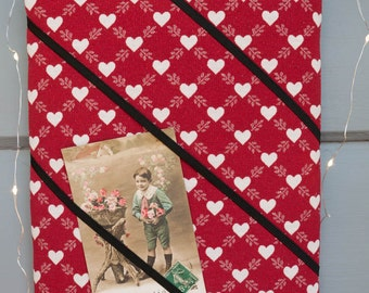 Red love heart handmade fabric bulletin board/memory board - romantic - kitsch