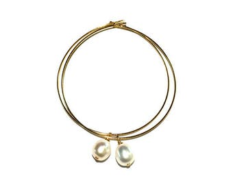 Large Gold Hoops, Gold Hoops, Semi Precious Earring, Fresh Water Pearl Earring