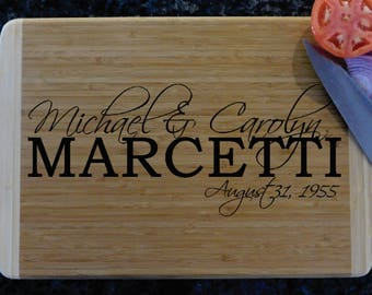 Two-Tone Custom Personalized Cutting Board, Bamboo Cutting Board, Butcher Block, Wedding Gift, Housewarming, Scriptina