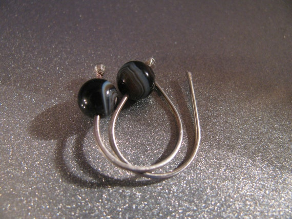 Black Onyx and Sterling Silver Earrings Handmade/Hand Forged Earrings- The Healing Stone Toniraecreations