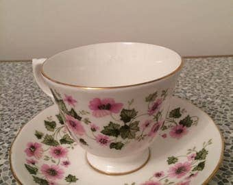 Queen Anne pretty floral bone china cup and saucer