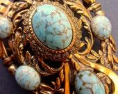Turquoise Art Glass West German Brooch-Pendant, Victorian Revival Art Deco, Brass Vintage