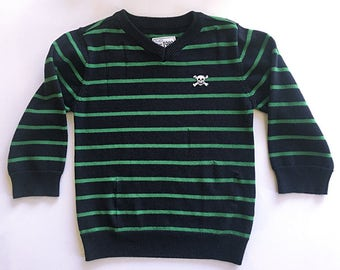 4t-Distressed Sweater-Skull Patch-Striped-Punk-
