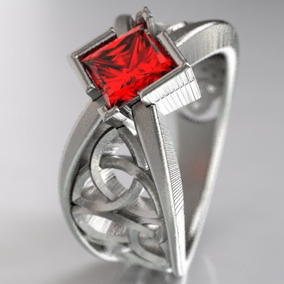 Celtic Wedding Ring With Square Princess Cut Ruby and Trinity Knotwork Design in Sterling Silver, Made in Your Size CR-1025