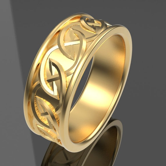 Celtic Wedding Ring with Interwoven Tribal Knotwork Design Made in 10K 14K 18K Gold or Palladium, Made in Your Size Cr-516