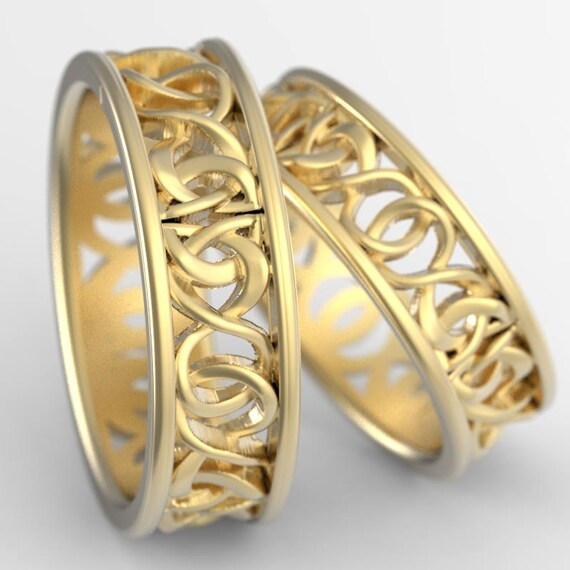 Celtic Knot Gold Ring Set With Woven Dara Knotwork Design in 10k, 14k, 18k Gold, Palladium, Platinum Wedding Rings Made in Your Size CR-5006