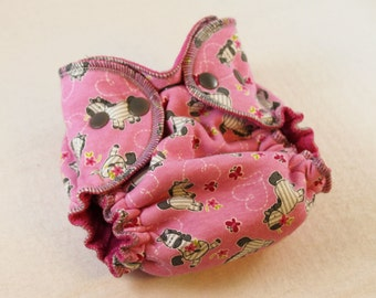 Newborn Fitted Cloth Diaper - Pink Zebra