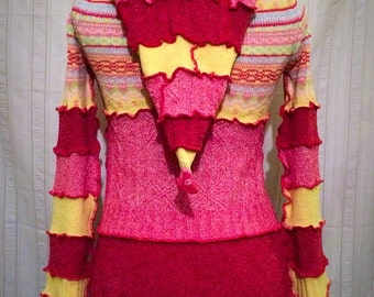 Pink/Yellow Spring Sweater Hoodie Size 4