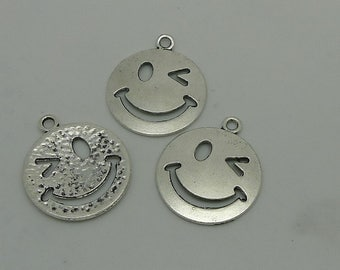 15pcs Smiling Face Charm, 26x22mm Antique Silver Smiling Face Charm Pendant, Face Charms Pendant