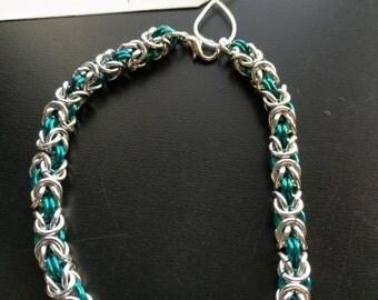 Teal and silver tiny byzantine bracelet