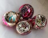 Vintage Christmas Ornaments Glass Stencil Tear Drop Indents