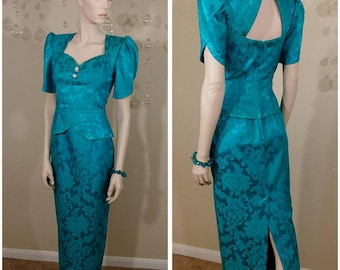 Vintage 80s teal dress size 6 by Scott Mcclintock