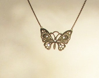 Necklace, lacy bronze butterfly with rhinestones, 24 inch chain, Free Ship US,