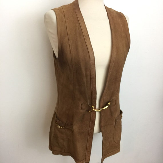 Suede waistcoat vintage tan brown real leather cosplay vest long boho 1970s hippy festival 70s UK 12 gold buckle horse bit