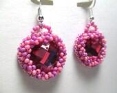 PINK CANDY HEARTS beaded earrings, gem inlay, bead embroidery, raised beadwork, handmade
