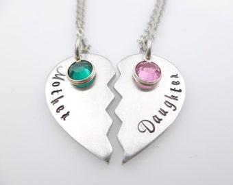 Mother Daughter Matching Necklace Set  Hand stamped jewelry  gift for mom  gift for daughter  new mother  birthstone  gift idea