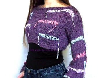 Knit  Women's Crop Sweater,Plus Size Tee,Loose Knit Sweater, Hipster Jumper, Long Sleeves,Knitted Shrug Cotton,Purple