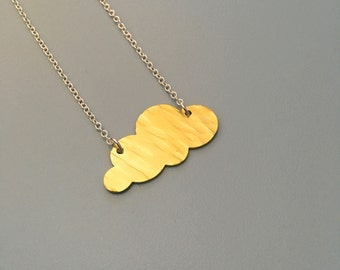 Brass Fluffy Cloud Necklace