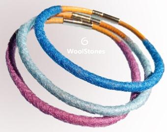 Wool bracelet set of 3