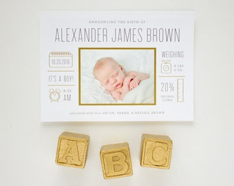 Gold Foil Stamped Birth Announcement, Infographic Birth Announcements with Foil, Newborn Photo Cards for Baby Boy | Baby Bulletin