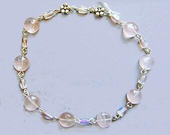 Rose Quartz & Czech Glass Chain Bracelet