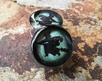 Teal Halloween Witch Plugs, gauges  00g, 7/16, 1/2, 9/16, 5/8, 3/4, 7/8, 1 inch