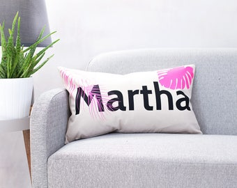 Personalised Name Tropical Cushion - Name Cushion - Palm Leaf Cushion - Scandinavian Cushion - Personalised Cushion - Custom Cushion Cover