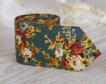 Teal Meadow Floral Tie   Orange Floral Men's skinny tie  Floral Wedding Ties Necktie for Men FREE GIFT