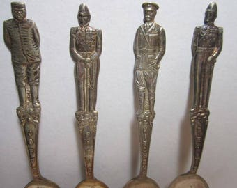 Vtg. Figural General / Admiral Spoons ( 6 in.long ). Set of 4 .