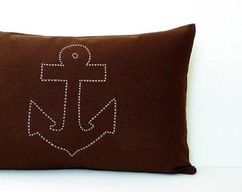 Hand embroidered anchor 100% Canvas cotton 40x60 zipper pillow sand